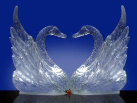 Stylised Swans  - Pair Ice Sculpture