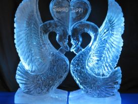 Swans with Heart Ice Sculpture